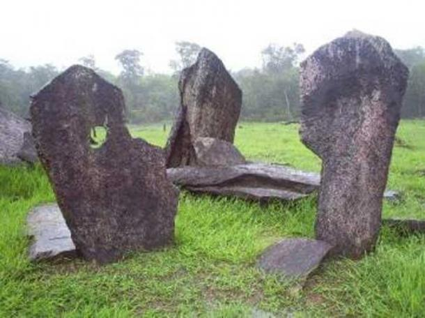 Detail of Cromlech of Calcoene, a megalithic stone structure located in Brazil.