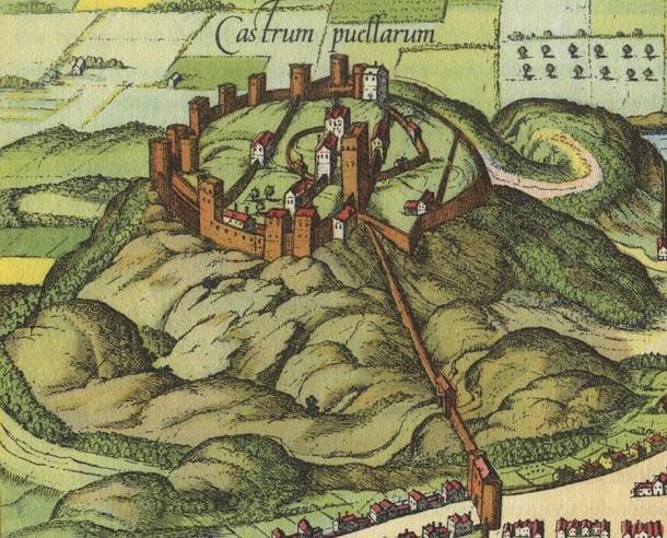 Detail of Edinburgh, scanned from a reproduction of 'Civitates orbis terrarum', c.1581.