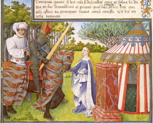 Detail of Folio 5V of King Rene's Book of Love, about a medieval knight who quests after a lovely lady, Sweet Grace; note the winged heart above the helmet of Cueur