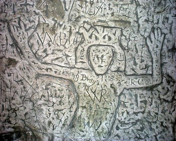 Detail of Royston Cave - Símbolos y esculturas enigmáticas de la cueva hecha por el hombre en Inglaterra confunden expertos
