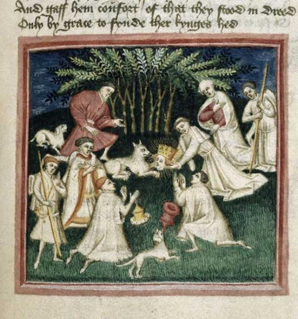 """Detail of a miniature of Edmund's head calling out """"Here! Here! Here!"""" all day long until the men searching for it found it hidden in a thicket, being guarded by a wolf. (Public Domain)"""