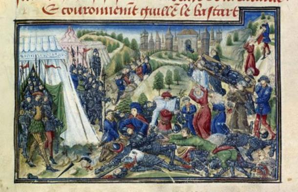 Detail of a miniature of the aftermath of the Battle of Hastings, including relatives seeking their dead, four monks carrying Harold's body to Waltham Abbey, and victorious Normans issuing from their pavilions, from the Grande Chronique de Normandie. Image taken from f. 167 of 'Grande Chronique de Normandie'. Written in French. (Public Domain)