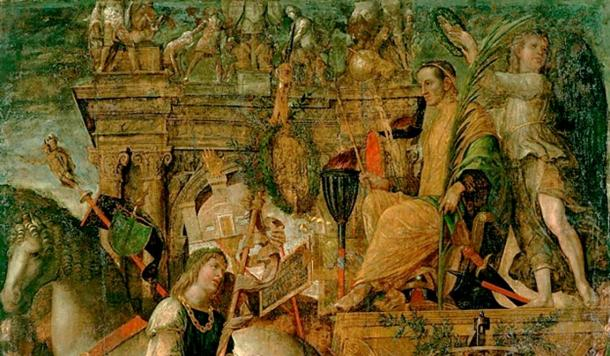 Top Image: Detail of a painting depicting Julius Caesar on his triumphal chariot.