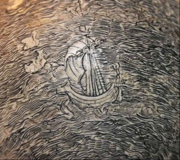Detail of a ship in the eastern Indian Ocean on the egg globe. Image credit: Washington Map Society