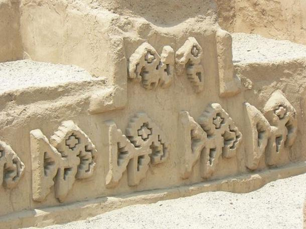 Detail of adobe relief motif at the Chan Chan complex built by the Chimor culture near modern Trujillo, Peru