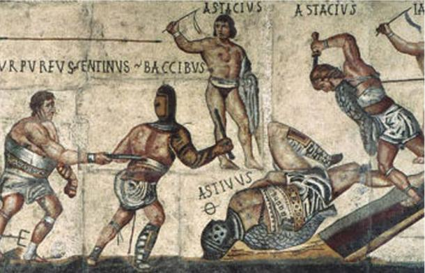 Detail of mosaic depicting gladiators