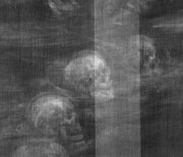 Detail of skulls discovered in Glindoni's painting of John Dee.