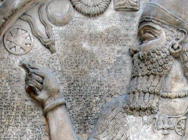 Detail of stele of Ashur-nasir-pal II in the British Museum, London. Assyria, 9th century BC. (Public Domain)