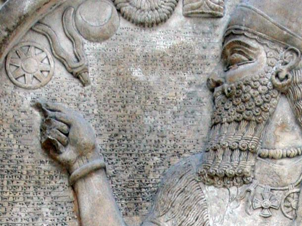 Detail of stele of Ashur-nasir-pal II in the British Museum, London. Assyria, 9th century BC. (Public Domain)