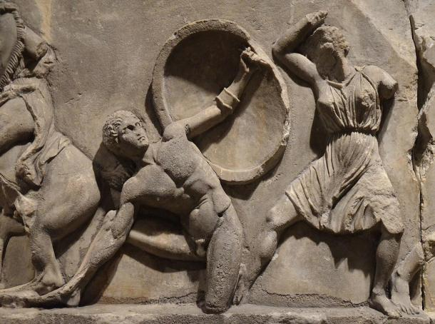 Detail of the Amazon Frieze from the Mausoleum at Halicarnassus: combats between Amazons and Greeks. 2012 by Carole Raddato.
