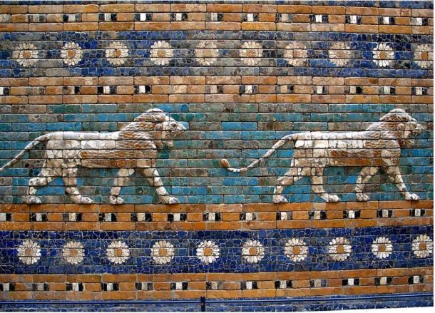 Detail of the lions and flowers of the Ishtar Gate, Pergamon Museum, Berlin