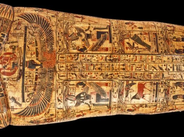 Detail of the outer coffin lid of Nesyamun who lived in Thebes over 3,000 years ago.