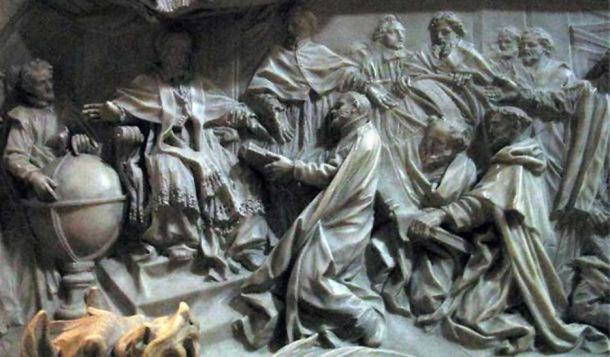 Detail of the tomb of Pope Gregory XIII celebrating the introduction of the Gregorian calendar.