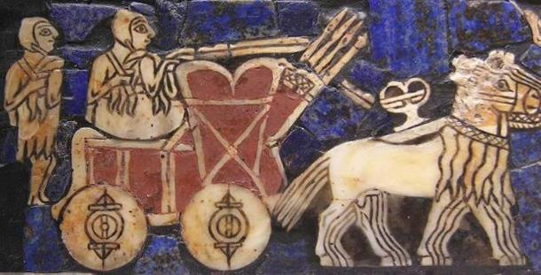 Detail of wheeled transport on the Standard of Ur, ca. 2500 BC.