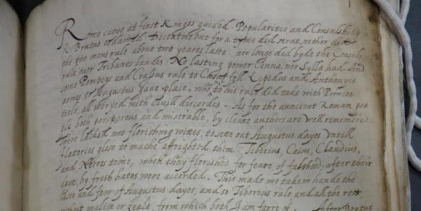 Detail of the manuscript which Queen Elizabeth I is believed to have translated. (Lambeth Palace Library)