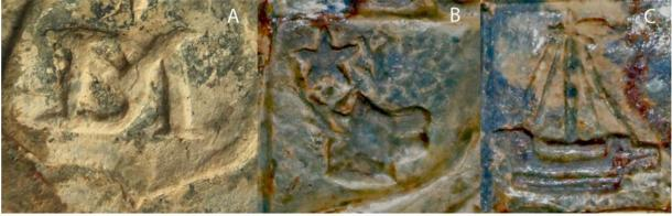 Detail on the clan Campbell seal showing: A) the maker's mark DM; B) the stag's head; C) the galley. (Sarah Lambert-Gates & Darko Maricevic ̌ / Antiquity Publications Ltd)