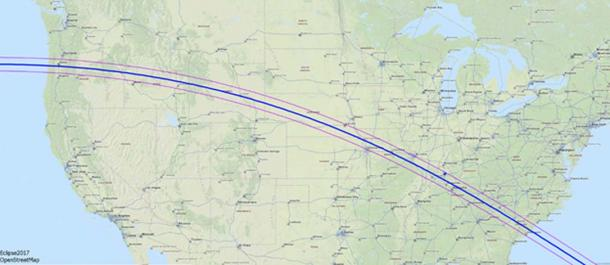 Detailed map of the path the total solar eclipse will take on August 21