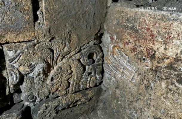 Details from the site show evidence that Aztec stone and reliefs were used to make new Spanish walls