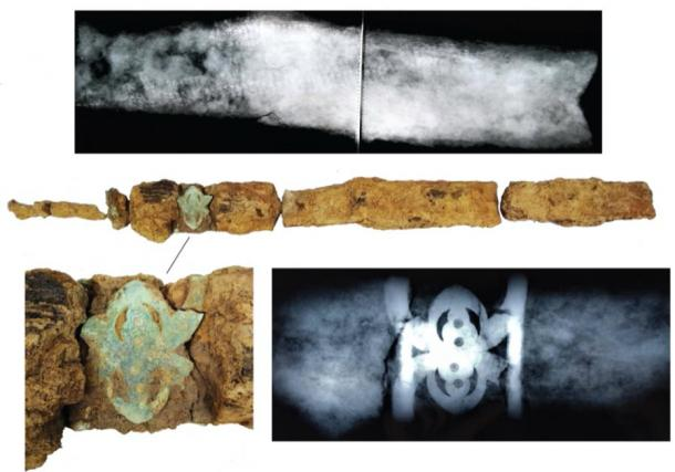 Details and X-rays from the sword unearthed from the Iron Age warrior grave. (UCL / ASE)