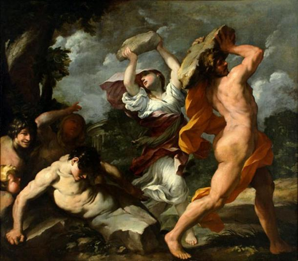 Deucalion and Pyrrha, 1635 painting by Giovanni Maria Bottalla