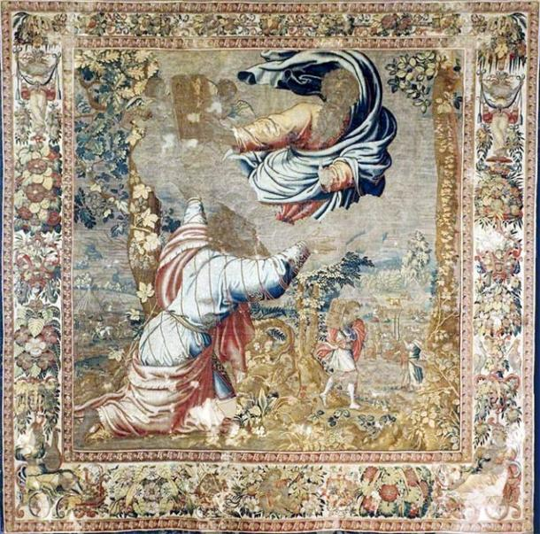 As described in the Book of Deuteronomy, this tapestry from the 1550s by Jan de Kempeneer depicts Moses receiving the tablets. (Public domain)