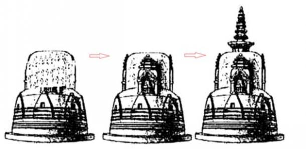 Vista conjetural de la estupa Dhamekh, sólo es posible después de que el estudio profundo de votiva Stupa