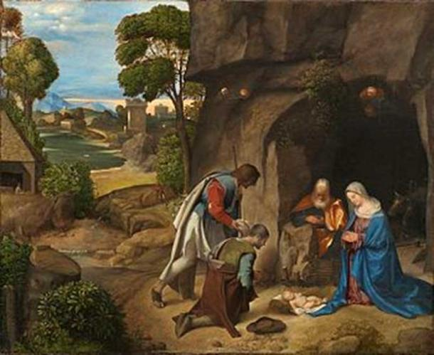 Did Mary give birth in a cave? Giorgione Adoration of the Shepherds, National Gallery of Art.