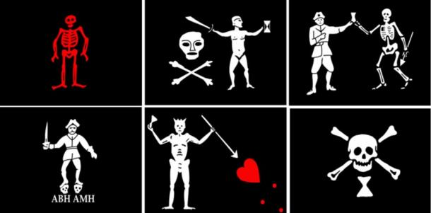 Different flag designs used by pirates over the centuries