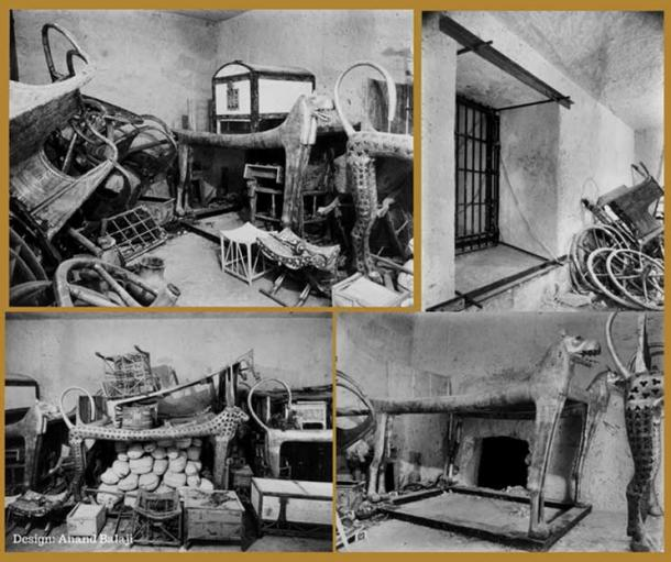 """Different views of the undecorated KV62 Antechamber shows what Carter called a state of """"organized chaos"""" which was likely due to robberies after the funeral. This room was stocked with approximately 700 priceless objects. (Public Domain: Top left, Top Right, Bottom Left, Bottom Right)"""