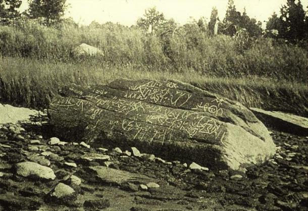 1893 photograph of Dighton Rock.