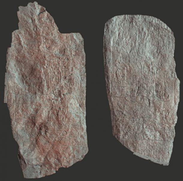 Digital reconstruction of two steles from the cities of Naranjo and Witzna, one indicating the torching of Witzna. (Image: Wahl et al/Nature Magazine)