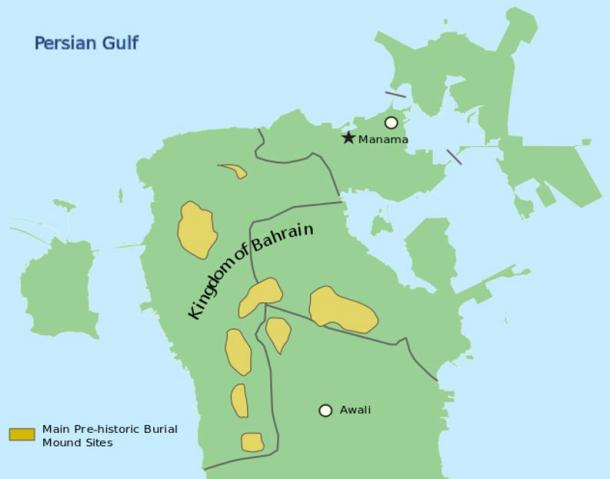 Location of Dilmun burial mounds in Bahrain.