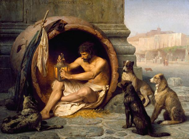 Diogenes living in his barrel.