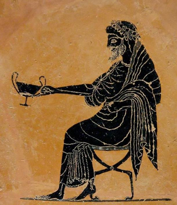 Dionysus extending a drinking cup (kantharos), late 6th century BC.