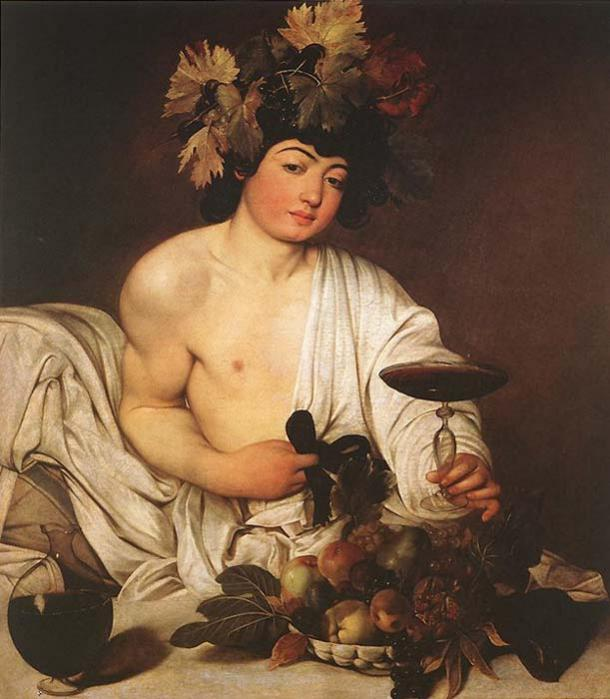 Dionysus in Bacchus by Caravaggio.