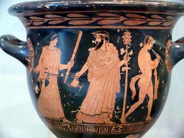 Dionysus, Silenus (and Maenad?). Red-figure krater.