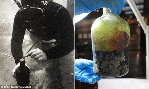 Discovery of the beer bottle in the 1990s and the bottle in the lab.