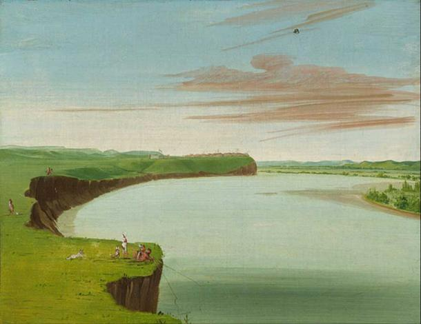 Distant View of the Mandan Village (Catlin, 1832).