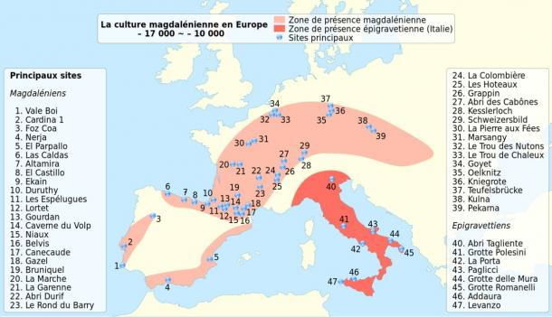 Distribution of Homo sapiens during the Magdalenian, from 19,000 to 12,000 years ago
