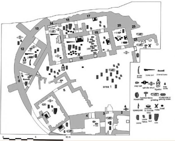 Distribution of artifacts found in the Godin Oval.