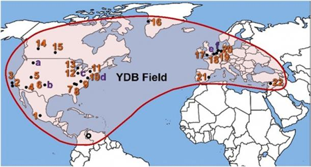 Distribution of the Younger Dryas Boundary. (Image courtesy of the Comet Research Group author supplied)
