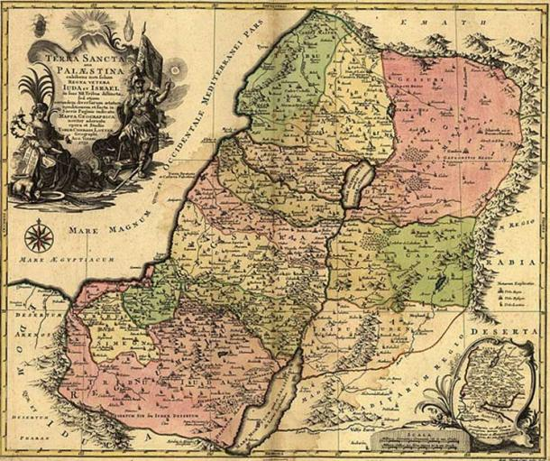 Division of Palestine among the 12 tribes of Israel from the conquest; after a map by Tobias Lotter (1759). (Public Domain)