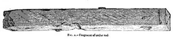 Dixon relic - fragment of cedar rod found inside Queen's Chamber shaft. (Nature, Vol 7 / Public Domain)