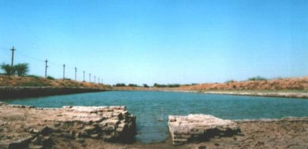 Dock with canal in Lothal, India.