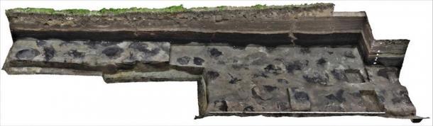 Documentation by photogrammetry: The footprints of a herd of elephants found by the researchers in Schöningen. (Image: Ivo Verheijen, Schöningen Research Station / Tubingen University)