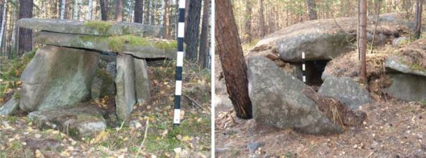 Left: Dolmen of stone plates. Right: Dolmen of boulders