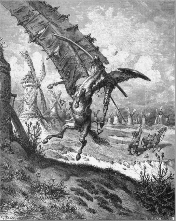 Don Quixote fights a windmill on his horse, Rocinante, as Sancho Panza panics.