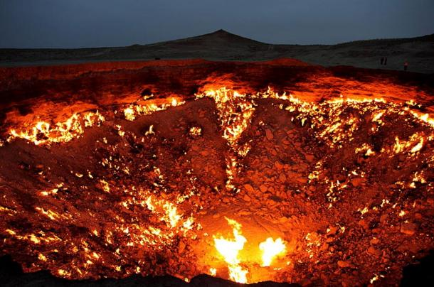 """The Door to Hell"" gas deposit, nearby Derweze, Turkmenistan, has been burning since 1971."