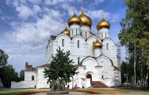 The steel weapon was found next to Dormition Cathedral (pictured) in Yaroslavl.