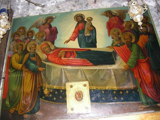 Icon of the Dormition of the Theotokos (Virgin Mary), Dormition Church (Mary's Tomb), Jerusalem.